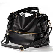 Gleader Large Shoulder Handbag shoulder strap has Fringes Leatherette Verni zipper Black