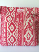 Canvas Cross Body Bag, Ladies Canvas Shoulder Bag, Girls canvas bag, Red and Cream print