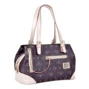 V022 Walter Valentino Leather Trim Structured Shoulder Bag