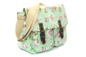 Vintage Roses Design Saddlebag / Satchel Made From EasyClean Material - Ideal Girls School Bag