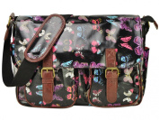 Eleoption Butterfly Cupcake Pattern Design Satchel Saddle Messenger Shoulder Bag