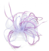 Light Purple Organza and Feather Comb Fascinator