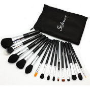 Stylemaster Professional Makeup Brush Set - Foundation Concealer Blending Blush Brush Face Powder Eyebrow & Eyeshadow Brush Cosmetics Tool Kit -15PCS Black Silver