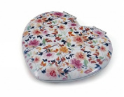 Heart Shaped Floral Compact Mirror