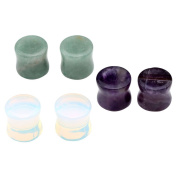 JOVIVI 3Pairs Mixed Stone Amethyst Opalite Aventurine Saddle Ear Plugs Stretcher Expander Gauges (10mm