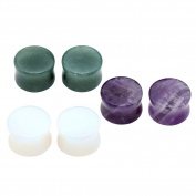 JOVIVI 3Pairs Mixed Stone Amethyst Opalite Aventurine Saddle Ear Plugs Stretcher Expander Gauges (14mm
