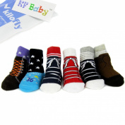 KF Baby Anti-Slip Baby Boy Shoe Socks, 6 pairs, for 12 - 18 Months