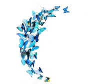 Domire 12 Pcs 3D Butterfly Stickers Making Stickers Wall Stickers Crafts Butterflies ,Blue