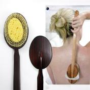 Premium Natural Wooden Bath Shower Body Back Brush Spa Scrubber Sea Sponge New