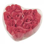 Sonline 12 Pcs Red Fragrant Rose Bud Petal Soap Wedding Favour + Heart Shape Box