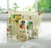 Bath and Shower Spa Set in White Basket Minted Jasmine SPA SET