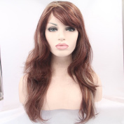 Kuafu Lace Front Body Wave Wig Heat Resistent Synthetic Fibre Ombre Brown Colour