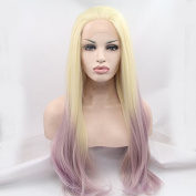 Kuafu Lace Front Straight Highlight Mixed Blonde and Purple Colour Wig Heat Resistent Synthetic Fibre