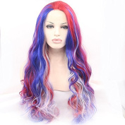 Kuafu Ombre Colour Syhthetic Lace Front Wig Heat Resistent Synthetic Fibre