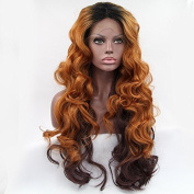 Kuafu Synthetic Lace Front Wig Long Body Wavy Mixed Brown Cosplay Party Queens Wig