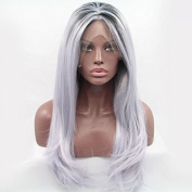 Kuafu Fashion High Quality Synthetic Lace Front Wig Silver