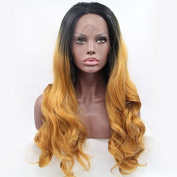 Kuafu Long Wavy Synthetic Lace Front Wig Mixed Black and Blonde Colour