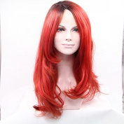 Kuafu New Synthetic Hair Empress Lace Front Wig Red