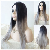 Kuafu Long Straight Synthetic Custom Lace Front Edge Wig
