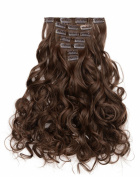 OneDor 50cm Curly Full Head Kanekalon Futura Heat Resistance Hair Extensions Clip on in Hairpieces 7pcs 140g