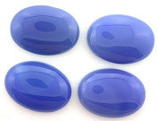 TWO 25x18 25mm x 18mm Oval Blue Agate Cabochon Gem Stone Gemstone bac1