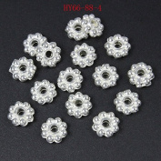 HYBEADS.200PCS 6mm bright silver daisy spacer beads