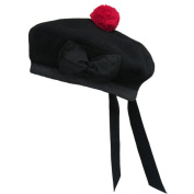 New Scottish Black Wool Balmoral plain Hat With Red Pompom on Top (7 1/2 -