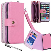 """For 4.7"""" iPhone 6, Urvoix(TM) 2 in 1 [Separable Megnetic] Back Cover [Wallet Zipper] Flip PU Leather Case for iPhone 6"""