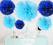 HoHoDeal 12pcs Mixed Sizes Royal Blue & Aqua Blue Party Tissue Paper Pom Poms Baby Shower Party Festival Outdoor Wedding Hanging Decoration