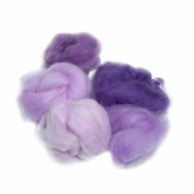 Extra Fine Merino Roving 19 Micron 150mls Violet Shades