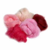 Extra Fine Merino Roving 19 Micron 150mls Pink Shades