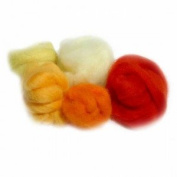 Extra Fine Merino Roving 19 Micron 150mls Yellow and Red Shades