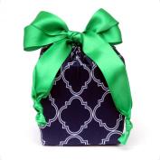 Eco Friendly + Reusable Stretchy Fabric Gift Wrap - Navy Quatrefoil