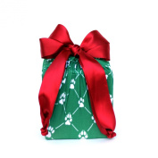 Eco Friendly + Reusable Stretchy Fabric Gift Wrap - Green Pet Paws