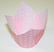 Baby Pink and White Polka Tulip Cupcake Baking Cup Liners -24ct