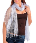 White Glitter Sparkle Sequin Style Shawl Wedding Party Evening Scarf Wrap Fringe