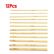 Sonline 12 Sizes 6'' (15cm) Crochet Hooks Bamboo Kits Knitting Needles Set