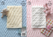 King Cole Double Knitting DK Pattern Baby Picot Edging Pram Blanket & Cable Knit Cot Blanket
