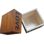 Brown Love Wooden Box Handmade Trinket Storage Keepsake Jewellery Name Card Holder