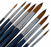 ARTIST PAINT BRUSHES - R - Professional Quality Black Tip, Golden Nylon, Long Handle, Round Paint Brush Set - Ideal for Watercolour Painting and Gouache Colour Painting, and Equally Useful for Acrylic Painting and Oil Painting. - The Natural Characteri ..