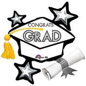 Anagram Congrats Grad Grad Cap School Colours 80cm x 70cm Foil Balloons White