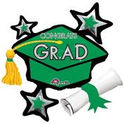 Anagram Congrats Grad Grad Cap School Colours 80cm x 70cm Foil Balloons Green