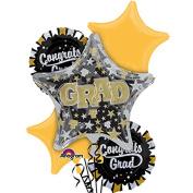 Anagram Congrats Grad 11pc Foil Balloons Black/Gold