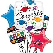 Anagram Congrats 11pc Foil Balloons Multicoloured/White