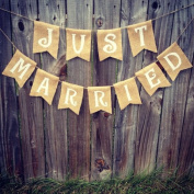 Burlap 'Just Married' Banner for Rustic Weddings or Events