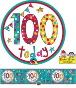 Age 100/100th Birthday Polka Dots & Stripes Rachel Ellen Foil Banner & Big Badge