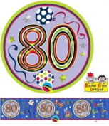 Age 80/80th Birthday Polka Dots & Stripes Rachel Ellen Foil Banner & Big Badge