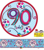 Age 90/90th Birthday Polka Dots & Stripes Rachel Ellen Foil Banner & Big Badge