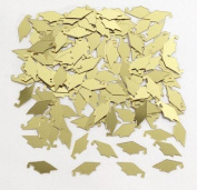 Club Pack of 12 Yellow Gold Mortar Board Cap Hat Shaped Graduation Day Party Confetti Bags 15ml