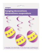 Bright Easter Egg Hanging Swirl Party Decorations x 3